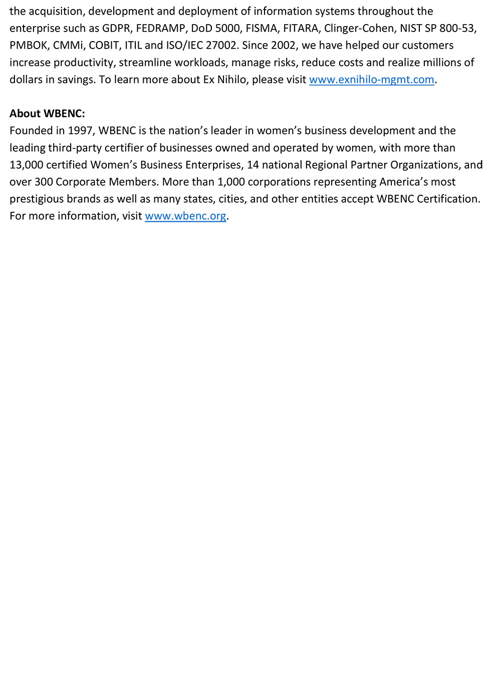 Press Release: Ex Nihilo Certified by the Women's Business Enterprise National Council (WBENC)